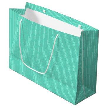 Beach Themed Aqua Blue Box with White Pinstripes Large Gift Bag