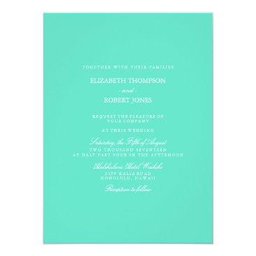 Beach Themed Aqua Blue Box with White Wedding Detail Card