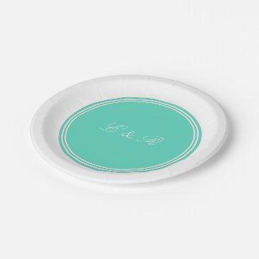 Beach Themed Aqua Blue Box with White Wedding Detail Paper Plate