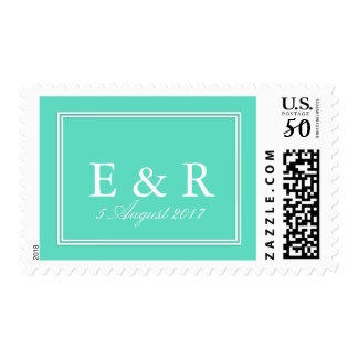 Aqua Blue Box with White Wedding Detail Postage