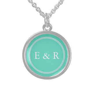 Aqua Blue Box with White Wedding Detail Sterling Silver Necklace