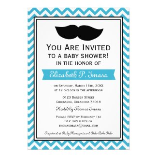Aqua Blue Boy Moustache Chevron Baby Shower Personalized Invitations