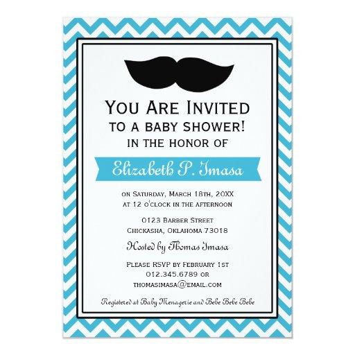 boy moustache chevron baby shower personalized invitations zazzle
