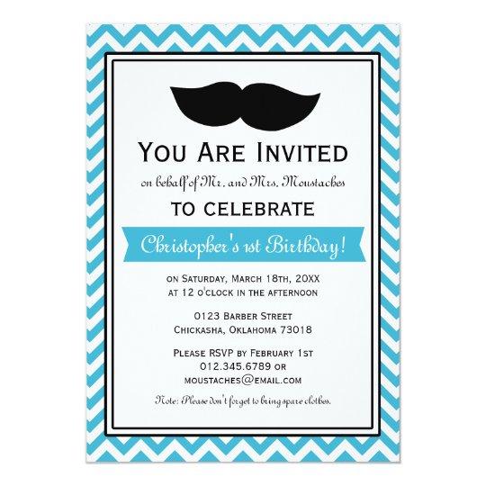 Aqua Blue Boy Moustache Chevron Birthday Party Card