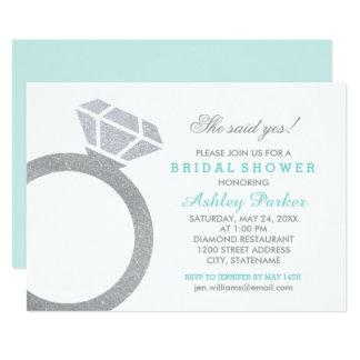 Aqua Blue Bridal Shower with Diamond Ring Invitation