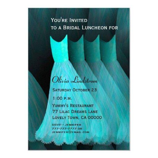 Aqua Blue Bridesmaid Luncheon or Brunch Template Custom Invitation