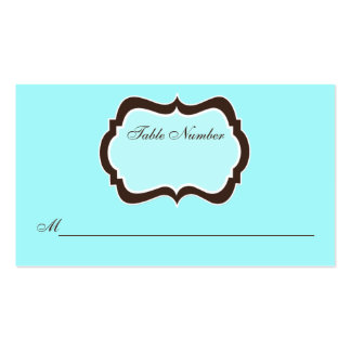 Aqua Blue, Brown, and White Damask Place Card Business Card Templates