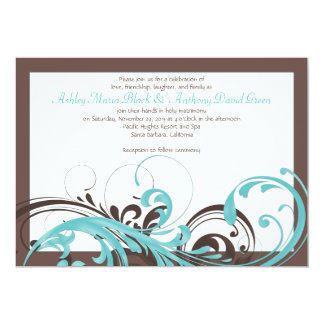 Aqua Blue, Brown Floral Wedding Invitation