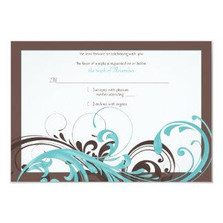 Aqua Blue, Brown Floral Wedding Reply Card