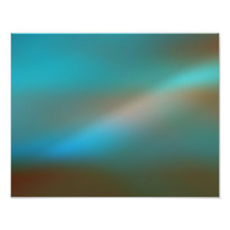 Aqua Blue & Brown Glow #1 Abstract Art Poster