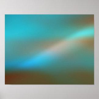 Aqua Blue Brown Glow 1 Abstract Art Poster