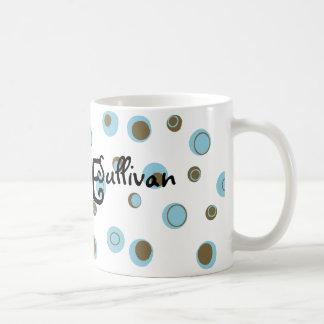 Aqua Blue Brown Polka Dots Monogrammed Classic White Coffee Mug