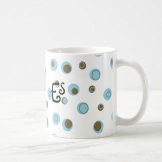 Aqua Blue Brown Polka Dots Monogrammed Coffee Mug