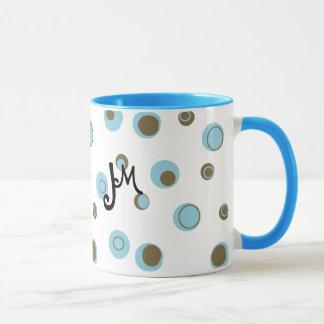 Aqua Blue Brown Polka Dots Monogrammed Mug