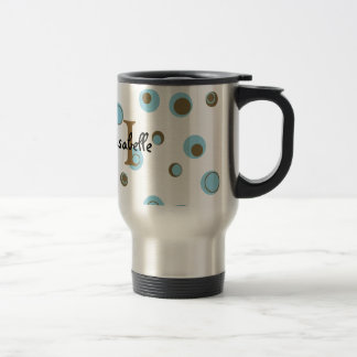 Aqua Blue Brown Polka Dots Monogrammed Travel Mug