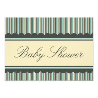 "Aqua Blue Brown Stripes Baby Shower Invitations 5"" X 7"" Invitation Card"