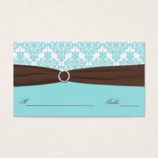 Aqua Blue, Brown, White Damask Place Card