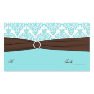 Aqua Blue, Brown, White Damask Place Card Business Card Templates