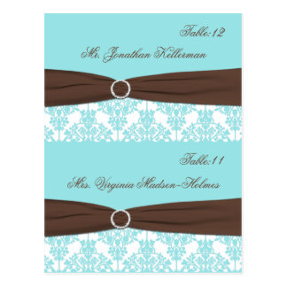 Aqua Blue, Brown, White Damask Place Cards Post Cards
