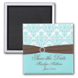 Aqua Blue, Brown, White Damask Save the Date 2 Inch Square Magnet