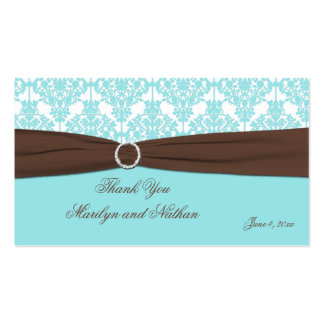 Aqua Blue, Brown, White Damask Wedding Favor Tag Business Card