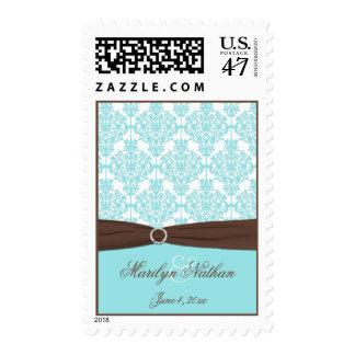 Aqua Blue, Brown, White Damask Wedding Postage