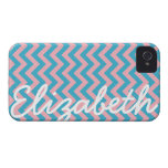 Aqua Blue Bubblegum Pink Chevron Pattern iPhone 4 Cases