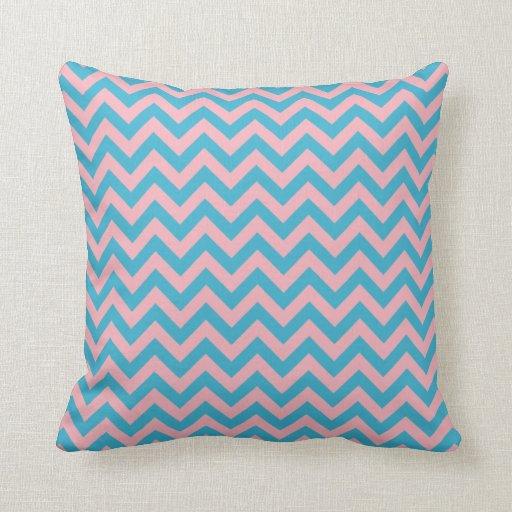 Aqua Blue Bubblegum Pink Chevron Pattern Throw Pillow