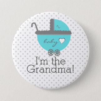 Aqua Blue Carriage Baby Shower Grandma Pinback Button