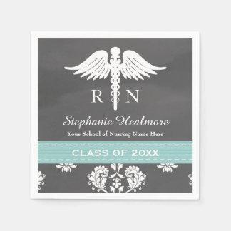 Aqua Blue Chalkboard Caduceus Nurse Graduation Paper Napkin