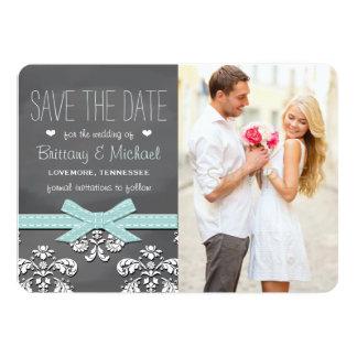 Aqua Blue Chalkboard Lace & Bow Save the Date Card