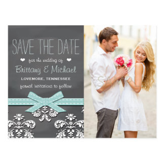 Aqua Blue Chalkboard Lace Bow Save the Date Postcard