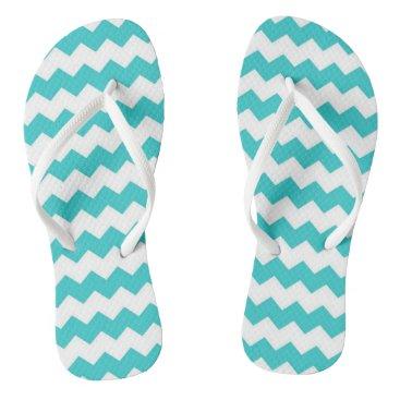 Beach Themed Aqua Blue Chevron Adult Flip Flops