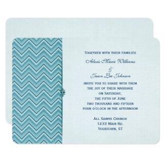 Aqua Blue Chevron Border Card