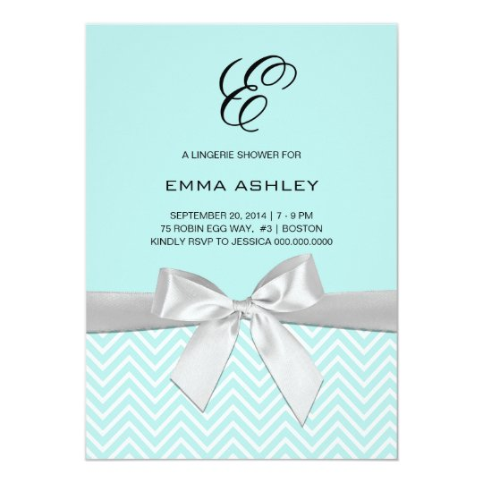 Aqua Blue Chevron Lingerie Shower Card
