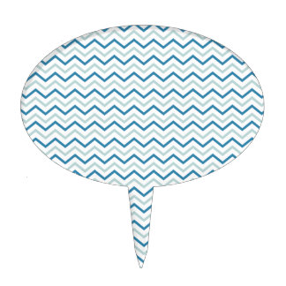 Aqua Blue Chevron Pattern Cake Topper