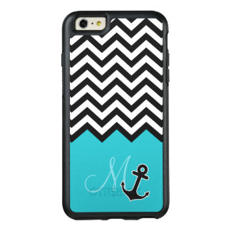 Aqua Blue Chevron Pattern Stylish Anchor Monogram OtterBox iPhone 6/6s Plus Case