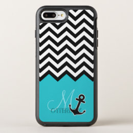 Aqua Blue Chevron Pattern Stylish Anchor Monogram OtterBox Symmetry iPhone 8 Plus/7 Plus Case