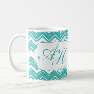 Aqua Blue Chevron Personalized Coffee Mug