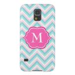 Aqua Blue Chevron Pink White Monogram Design Galaxy S5 Cover