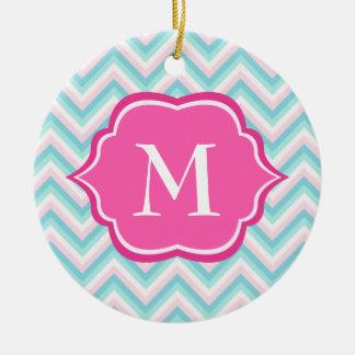 Aqua Blue Chevron Pink White Monogram Design Ceramic Ornament