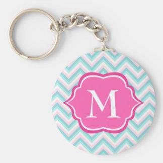 Aqua Blue Chevron Pink White Monogram Design Keychain