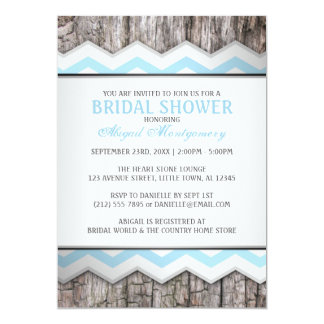 Aqua Blue Chevron & Wood Rustic Bridal Shower Card