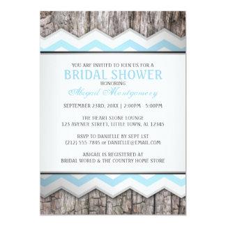 Aqua Blue Chevron & Wood Rustic Bridal Shower 5x7 Paper Invitation Card