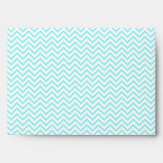 Aqua Blue Chevron Zigzag and Teal Diamond Pattern Envelope