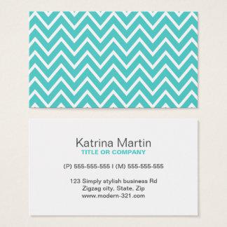 Aqua blue chevron zigzag pattern modern personal business card