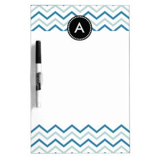 Aqua Blue Chevron Zizgag Personalized Monogram Dry-Erase Board