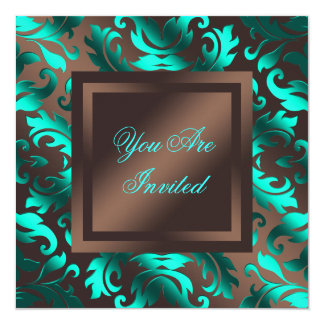 Aqua Blue Chocolate Brown Damask Party Card