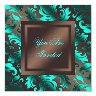 Aqua Blue Chocolate Brown Damask Party Card