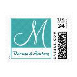 Aqua Blue Circles Wedding Monogram Ver 004 Stamp